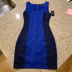 Guess blue with black lace dress size 2
